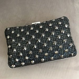 Zara leather and stud detail box clutch